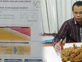 Dr. Sutrisno, M.Si., menunjukkan rumput laut bahan jeli